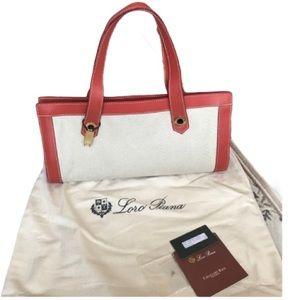 Loro Piana leather trim canvas baguette bag